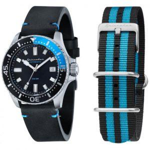 Spinnaker Coffret SP-5039-01 - Spence Bracelet Cuir Noir Boitier Acier Cadran Noir Teintes Globales de Bleu + Bracelet Nato Homme