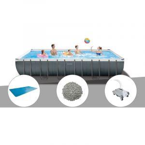 Intex Kit piscine tubulaire Ultra XTR Frame rectangulaire 7,32 x 3,66 x 1,32 m + Bâche à bulles + 20 kg de zéolite + Robot nettoyeur