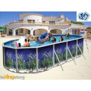 Toi Piscine 8566 - Piscine acier ovale decor aquarium 550 x 366 x 120 cm