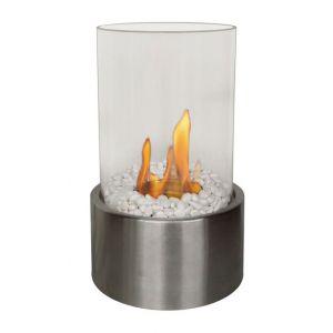 Purline Disis - Cheminée de table tout en rondeur verre et inox brossé.