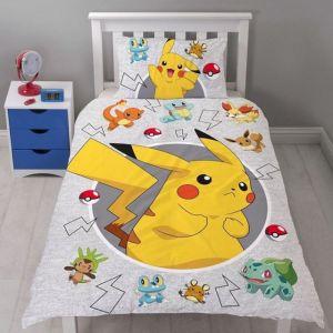 Character World Parure de lit réversible Pokemon Pikachu (90 x 190 cm)