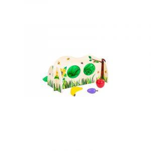 Legler Chenille Qui Fait des Trous Mur, Bois, avec 3 Sortes de Fruits, Jeu à tâter avec Fermeture éclair Jouets, 11343, Multicolore