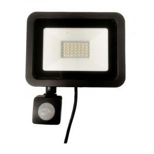 Silamp Projecteur LED 30W Détecteur de Mouvement Crépusculaire Extra Plat IP65 NOIR - Blanc Neutre 4000K - 5500K