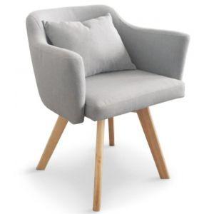 1bfbf6eddea4d2 Chaise fauteuil scandinave en tissu Dantes Coloris Gris clair