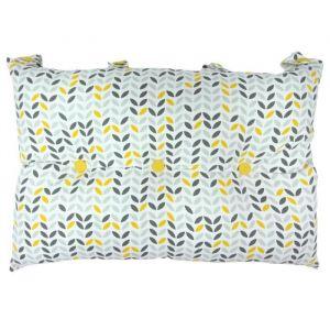 Image de Tête de lit coussin 100% coton imprimé MISTIGRI - 50x70 cm - Gris, jaune et blanc - 50x70 cm - Coloris : gris, jaune et blanc - Enveloppe : 100% coton - Garnissage : 100% polyester