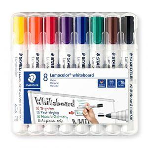Staedtler Marqueur effaçable Lumocolor pointe ogive 2 mm couleurs assorties - Pochette de 8