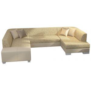 Comforium Canapé d'angle convertible 4 places en tissu et cuir synthétique beige avec coffre méridienne côté droit