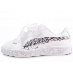 Puma Basket Heart Bling Blanche Enfant Baskets/Tennis Enfant