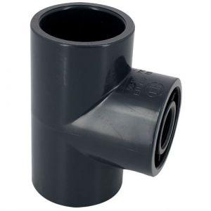 Centrocom Té mixte en PVC taraudé à 90° - Femelle à coller / Femelle à visser - Diamètre 32 - Taraudage 26/34