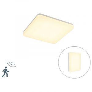 Qazqa Moderne Plafonnier carré moderne blanc incl. LED avec détecteur de mouvement - Plater Plastique Blanc Carré / Extérieur / Jardin / Luminaire / Lumiere / Éclairage / intérieur / Salon / Cuisine