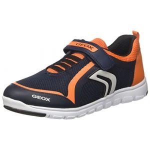 Geox Xunday B, Sneakers Basses Garçon, Bleu (Navy/Orange), 35 EU