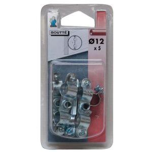 Boutté 1314385 - Collier fixation double (lot de 5) Ø12 mm - Accessoire pose plomberie