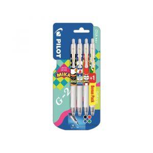 Pilot Lot de 3 stylos roller G-2 FriXion Clicker + 1 stylo vert - MIKA EDITION LIMITÉE