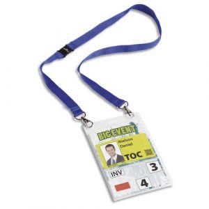 Durable 8525-07 - Boîte de 10 porte-badges, pour format A6, avec lacet textile et mousquetons, bleu foncé