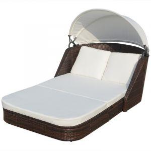 VidaXL Chaise longue avec baldaquin en rotin synthétique