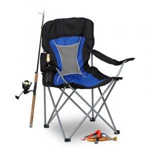 Relaxdays Chaise de camping pliante chaise de jardin pliable avec dossier et porte-gobelet HxlxP: 100 x 90 x 56 cm, bleu noir