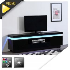 Meuble Tv Laque Noir Led Comparer 45 Offres