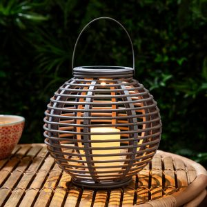 Lights4Fun Grande Lanterne Solaire Bleu Tourterelle Effet Rotin avec Bougie LED pour Jardin