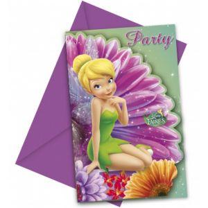 6 cartes invitations avec enveloppes Fée Clochette