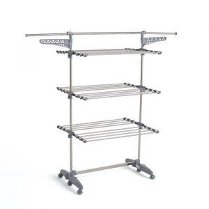 Kitchen Move Sechoir à linge EXTRA modulable multifonction GRANDE CAPACITÉ L85-168xl68xH150 en Acier Inoxydable
