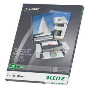 Leitz 100 pochettes de plastification pré-perforées 80 microns A4 iLAM