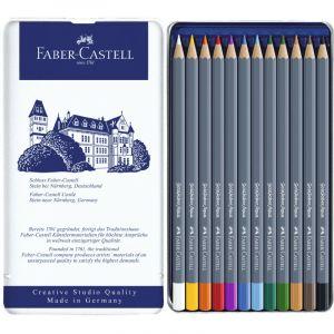 Faber-Castell Boîte de 12 crayons de couleur aquarellables Goldfaber Aqua
