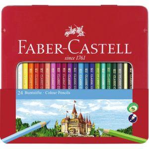 Faber-Castell 115824 24 crayons de couleur Hexagonal, étui en métal