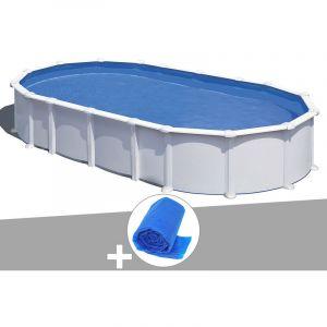 Gre Kit piscine acier blanc Atlantis ovale 8,15 x 4,90 x 1,32 m + Bâche à bulles