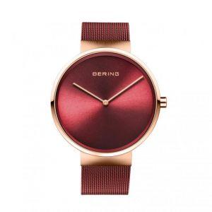 Bering Montre 14539-363 - Boîtier acier doré rose brillant cadran rouge bracelet acier milanais rouge Homme