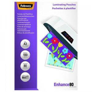 Fellowes 5452003 - Boîte de 100 pochettes Enhance80, finition mate, format A3, 2 x 80µ