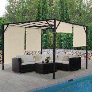 Pergola Baia, pavillon de Jardin, Cadre Stable à 6 cm en Acier + Toit ouvrant ~ 4x3m