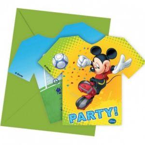 6 cartes d'invitation avec enveloppes Mickey foot