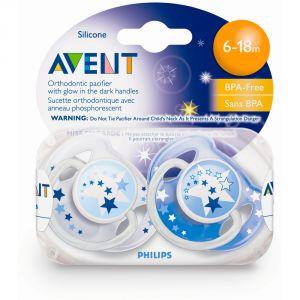 Philips Avent SCF176/22 - 2 sucettes Nuit en silicone (6-18 mois)