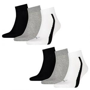 Puma Lifestyle - Chaussettes de Sport - Lot de 3 - Graphique - Mixte Adulte - Homme - Multicolore (Blanc/Gris/Noir) - 43-46 EU
