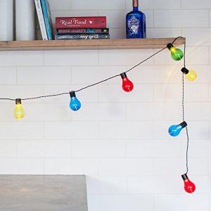 Lights4Fun Guirlande Lumineuse Guinguette avec 20 Boules LED Multicolores à Piles pour Intérieur/Extérieur par