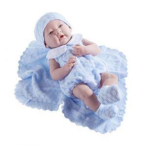 Berenguer Poupon newborn nouveau né sexué garçon tenue tricotée bleue avec couverture 38 cm