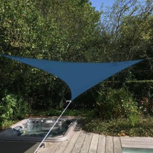 Alice's Garden Voile d'ombrage triangulaire extensible EASYWIND 3,6 x 3,6 x 3,6m - Bleu - Anti UV UPF 50+
