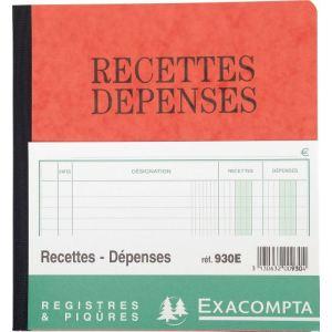 Exacompta Piqûre journal recettes et dépense  2 colonnes (190 x 210 mm)