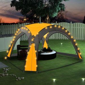 VidaXL Tente de réception avec LED et 4 parois 3,6x3,6x2,3 m Jaune