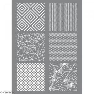 Graine Créative Pochoir pour impression de motifs sur pâte polymère - Géométrique - 11,4 x 15,3 cm