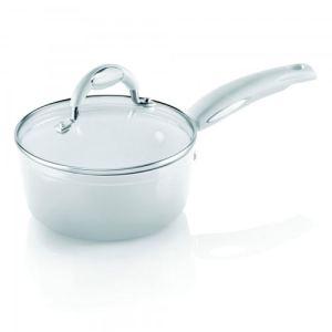 Bialetti JOWIC3N180 - Casserole Ceramic White 18 cm avec couvercle tous feux dont induction