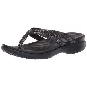 Crocs Women´s Capri Strappy Flip - Sandales de marche taille W10, noir