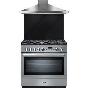 Falcon COLPR90DFX - Piano de cuisson mixte 5 foyers gaz avec four électrique