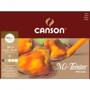 Canson Papier Mi-teintes tons brun 24x32 cm 30 feuilles