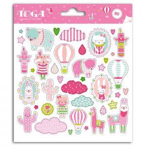 Toga Stickers Léonard et Joséphine - Joséphine - 2 planches de 15 x 15 cm