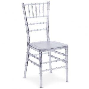 Declikdeco Lot de 10 chaises Chiavari Transparent Baroque