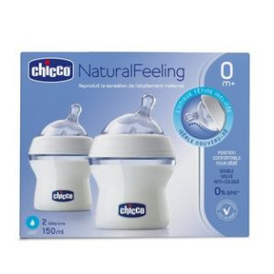 Chicco 2 biberons NaturalFeeling tétine inclinée flux lent 150 ml 0m+