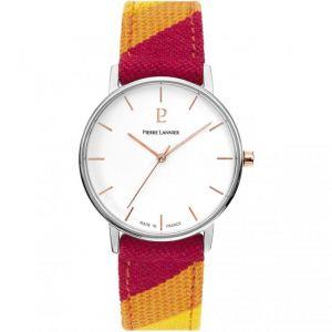 Pierre Lannier Montre 192G625 - CATALANE Bracelet Tissu Multicolore Boîtier Acier Doré Rose Femme
