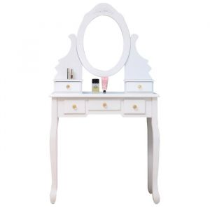 Coiffeuse classique blanche + tabouret - L 80 cm - Panneaux particules blanc - Coiffeuse L80 x P40 x H140 cm, tabouret L37 x P28 x H45 cm - 5 tiroirs, 1 miroir