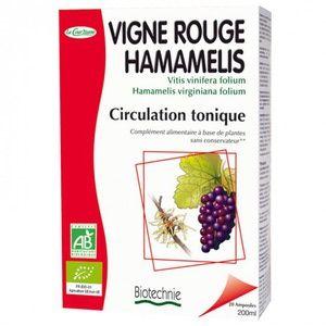Biotechnie Compléments Alimentaires Vigne rouge Hamamélis jambes légères